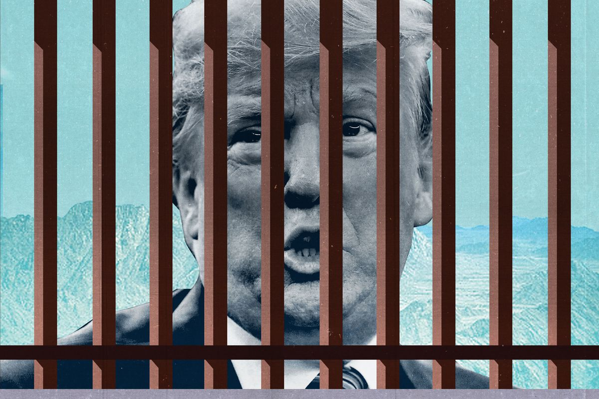 Illustration showing President Donald Trump behind a fence