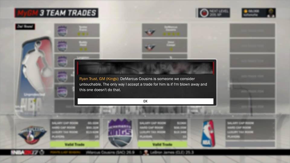 NBA 2K17 MyGM - Kings turning down DeMarcus Cousins trade