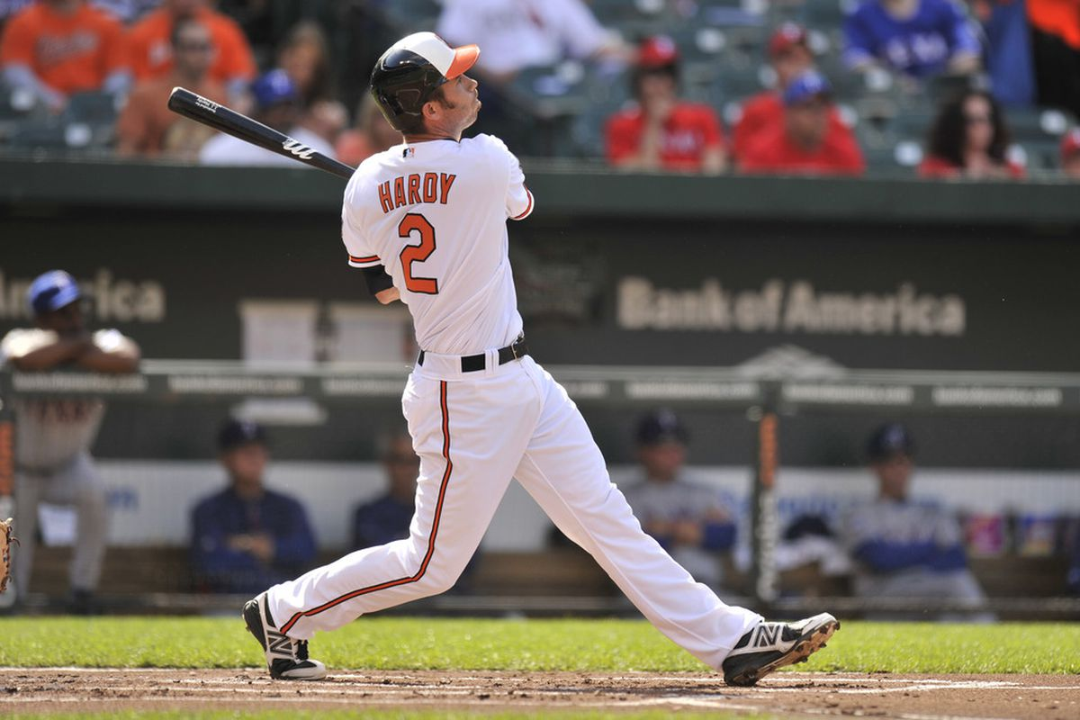 J.J. Hardy was part of back-to-back-to-back leadoff homeruns. Incredibly, not for the first time.  (Photo by Mitchell Layton/Getty Images)