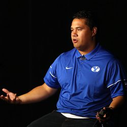 Offensive lineman Tuni Kanuch answers questions during BYU Football Media Day at BYU Broadcasting in Provo on Friday, June 23, 2017.