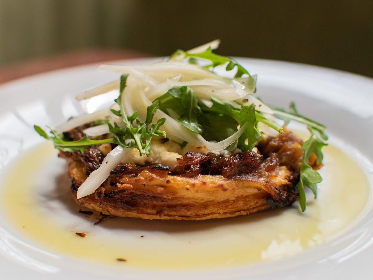 An onion tart at Peche