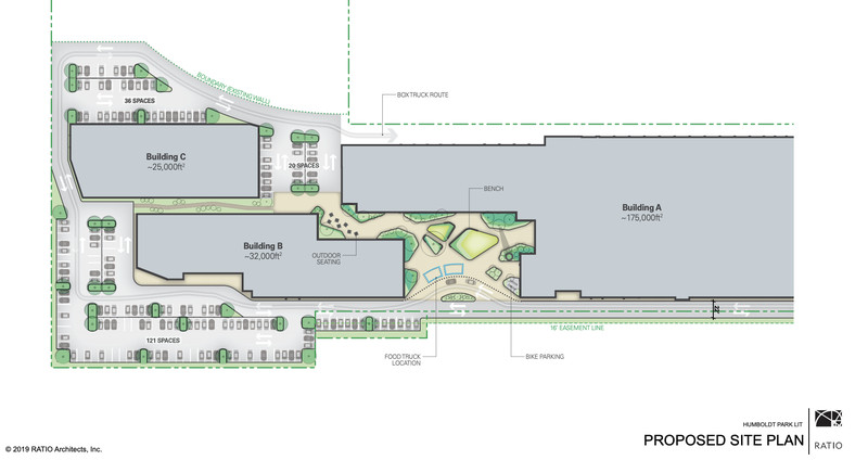 The architectural drawing shows the square footage for three buildings and the layout of the project with parking, landscaping, walkways, and roads.