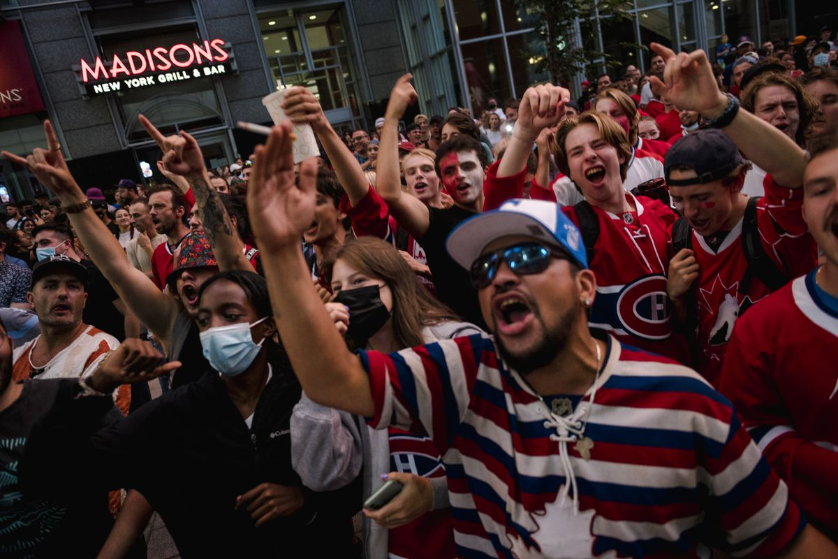 Hockey Fans Gather Outside The Bell Center During Stanley Cup