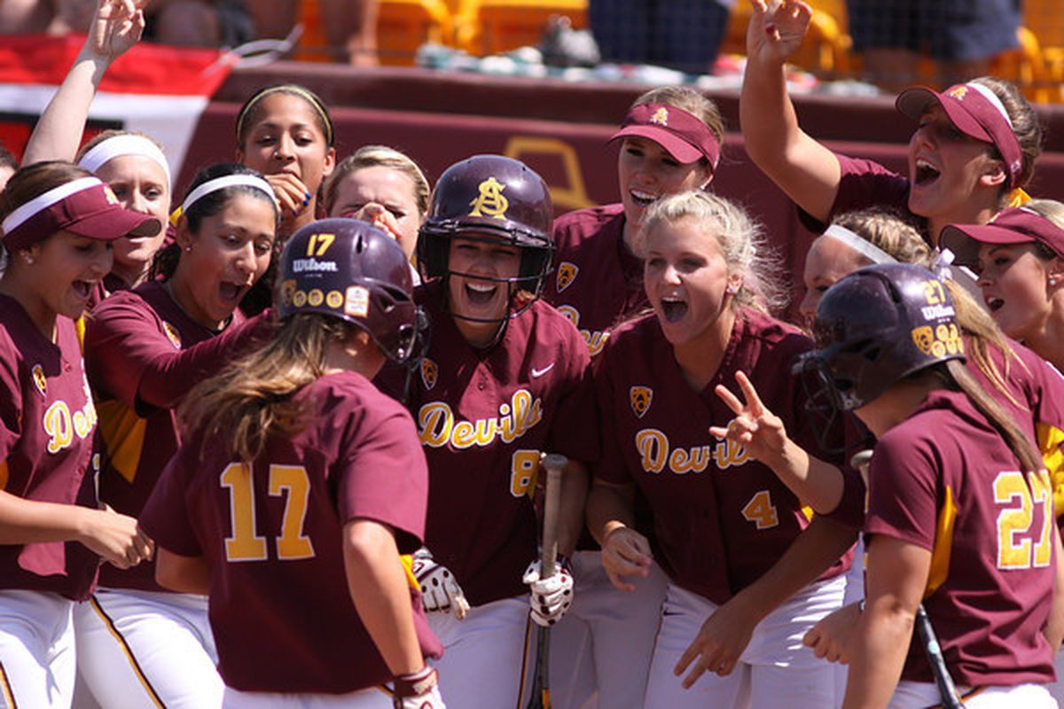 The Sun Devils celebrate a Katelyn Boyd home run in their regional game against San Diego State on May 22, 2011. Photo courtesy of Steve Rodriguez.