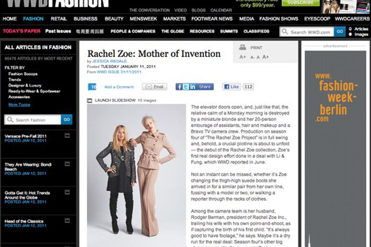 Rachel Zoe's collection got a WWD Style cover and a spread in yesterday's issue