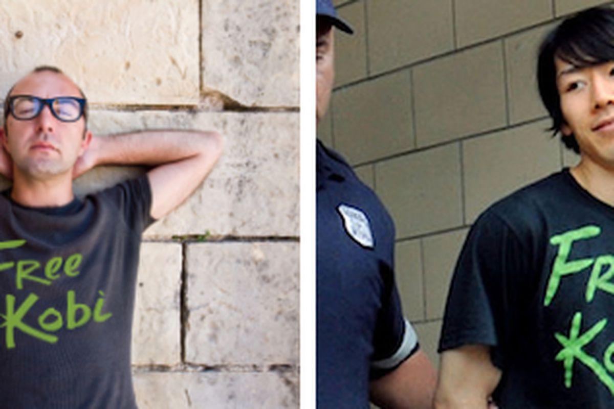 "Left: Free Kobi T-Shirt. [Photo: <a href=""http://www.donkeyts.com/design/993%20free%20kobi%20kobayashi%20t%20shirt"">Donkey Tees</a>] Right: Kobayashi's arrest."