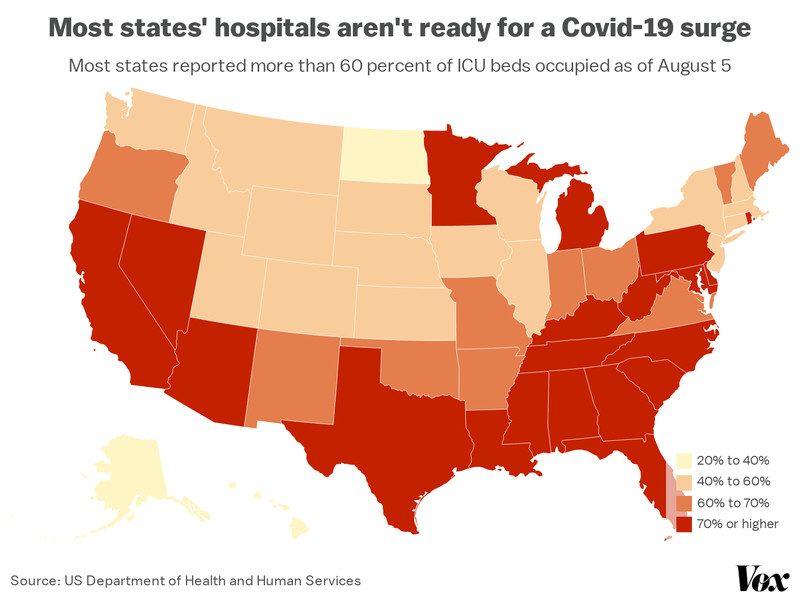 A map of ICU occupancy rates, state by state.