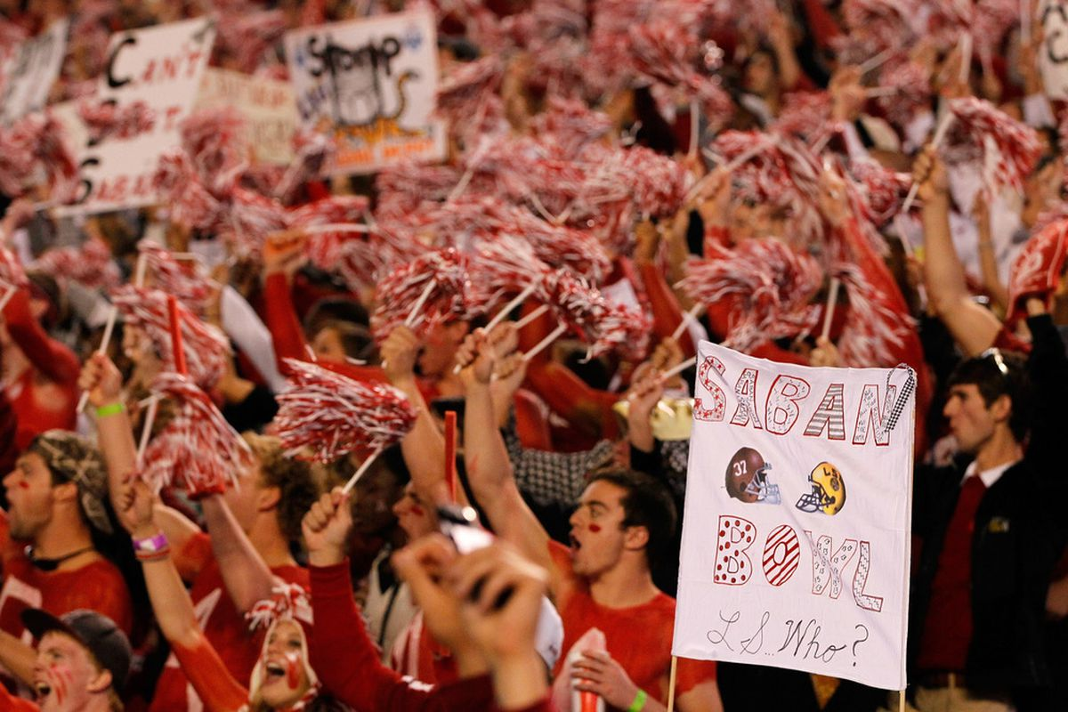 """TUSCALOOSA, AL - NOVEMBER 05:  Fans cheer for the """"Saban Bowl"""" prior to the game between Alabama Crimson Tide and the LSU Tigers at Bryant-Denny Stadium on November 5, 2011 in Tuscaloosa, Alabama.  (Photo by Kevin C. Cox/Getty Images)"""