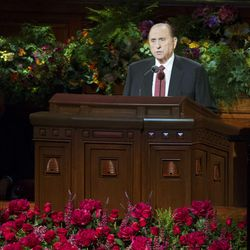 President Thomas S. Monson makes a few short remarks at the end of the afternoon session as members of The Church of Jesus Christ of Latter-day Saints gather for the 184th Semiannual General Conference Sunday, Oct. 5, 2014, at the Conference Center in Salt Lake City.