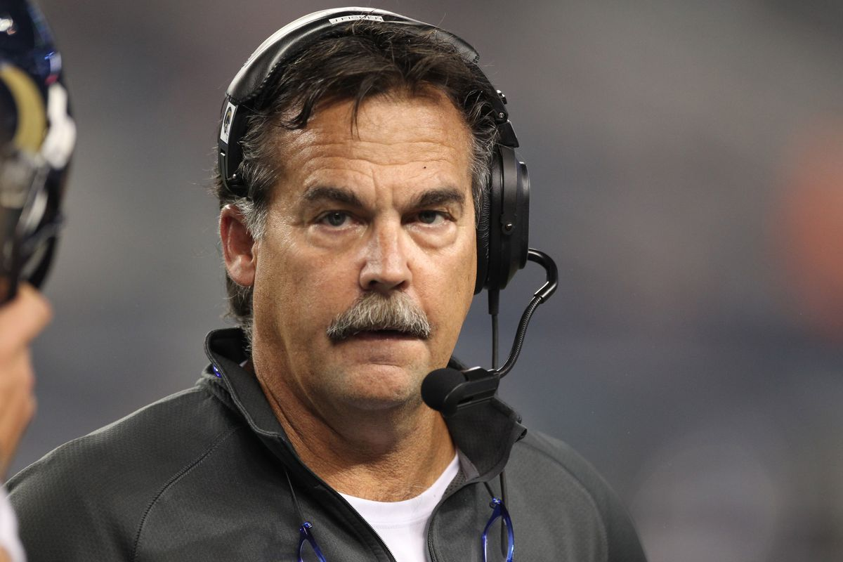 Aug 25, 2012; Arlington, TX, USA; St Louis Rams head coach Jeff Fisher on the sidelines during the game against the Dallas Cowboys at Cowboys Stadium. Mandatory Credit: Matthew Emmons-US PRESSWIRE