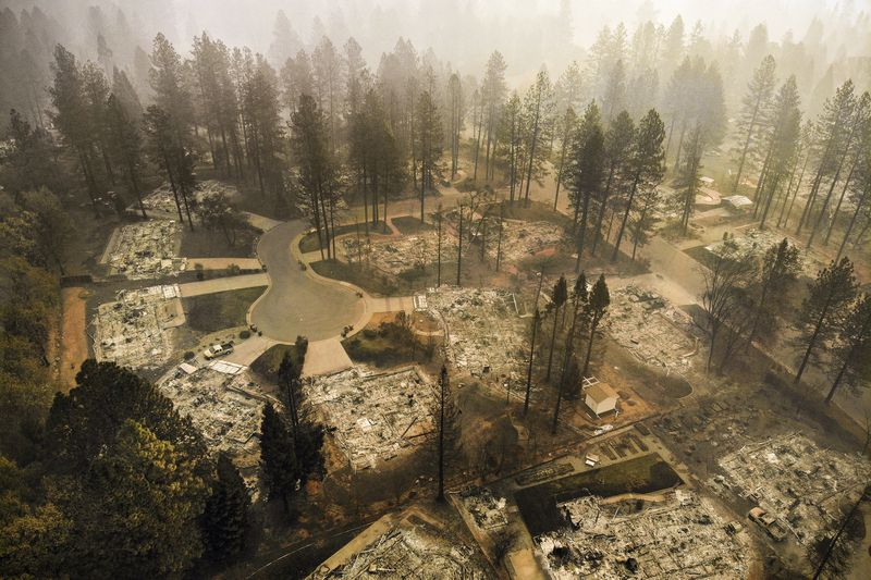 An ariel view of Paradise off of Clark Road on Nov. 15, 2018. The Camp Fire has burned more than 7,000 structures in Paradise.