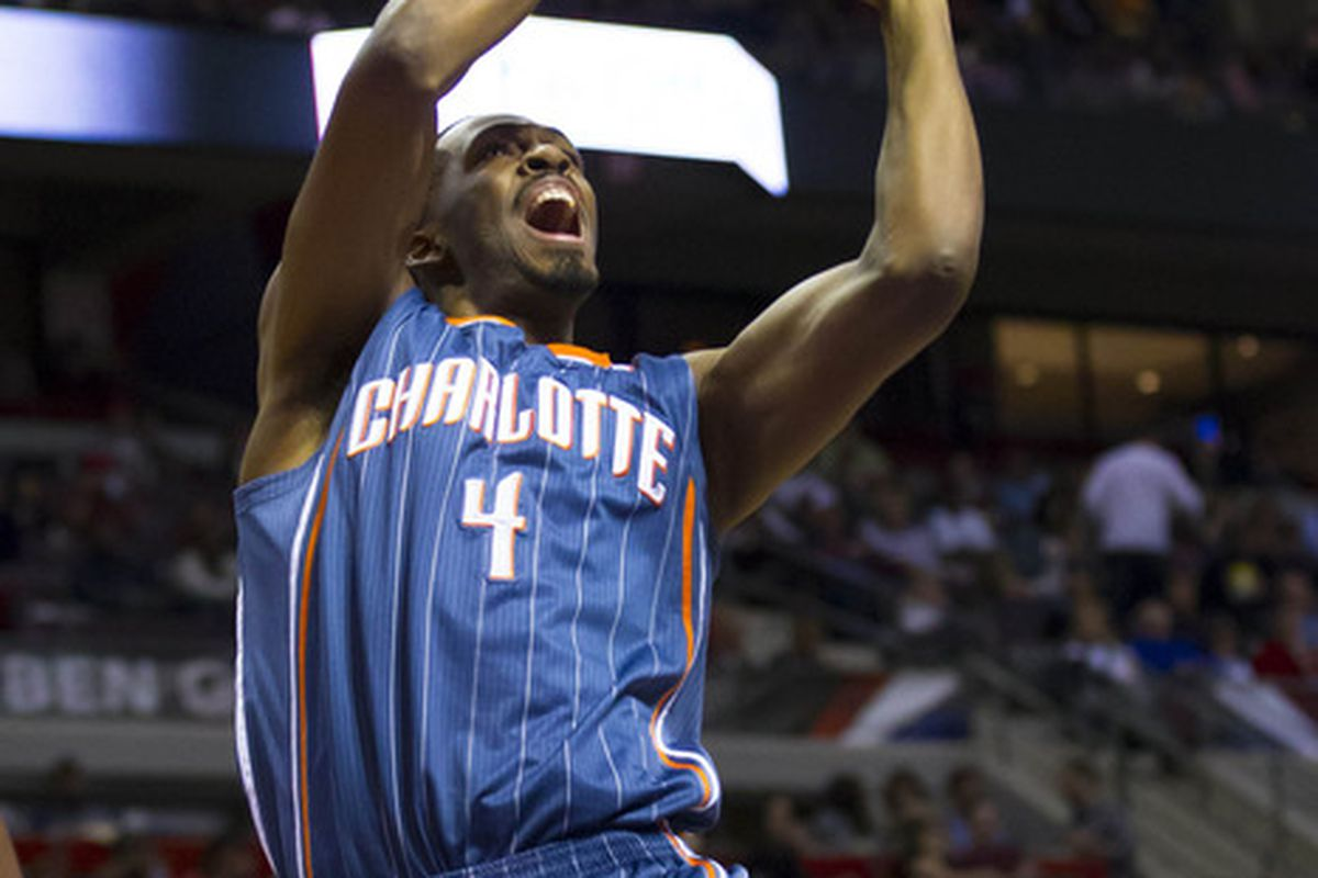 March 31, 2012; Auburn Hills, MI, USA; Charlotte Bobcats forward Derrick Brown (4) drives to the basket in the second quarter against the Detroit Pistons at The Palace. Mandatory Credit: Rick Osentoski-US PRESSWIRE