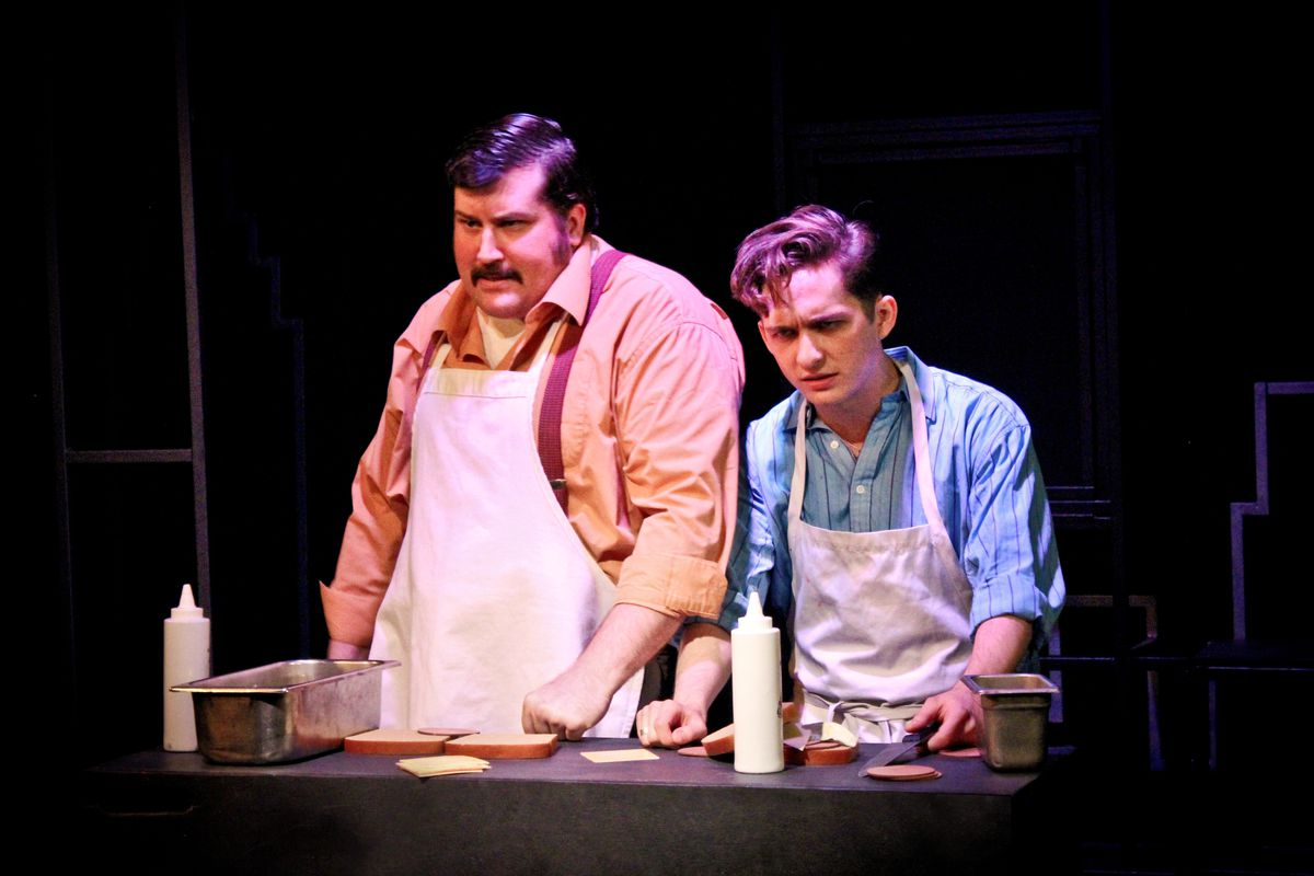 """Daniel Waters plays Crabble and James Romney plays Harold in the musical """"Fly by Night,"""" at Theo Ubique Cabaret Theatre. (Photo: Adam Veness)"""