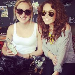 """We couldn't resist snapping adorable furball Tia with her human mom SheKnows' Elise Upperman (<a href=""""http://www.instagram.com"""">@elise_upps</a>) and pal at the post-walkabout party."""