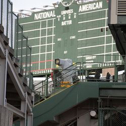 4:42 p.m. Another broadcast camera set up at the south end of the Budweiser Patio, in the right field corner -