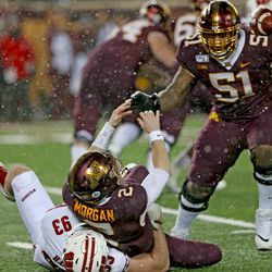 Garrett Rand sacks the Minnesota QB and forces a fumble. Rand had seven tackles on the day.