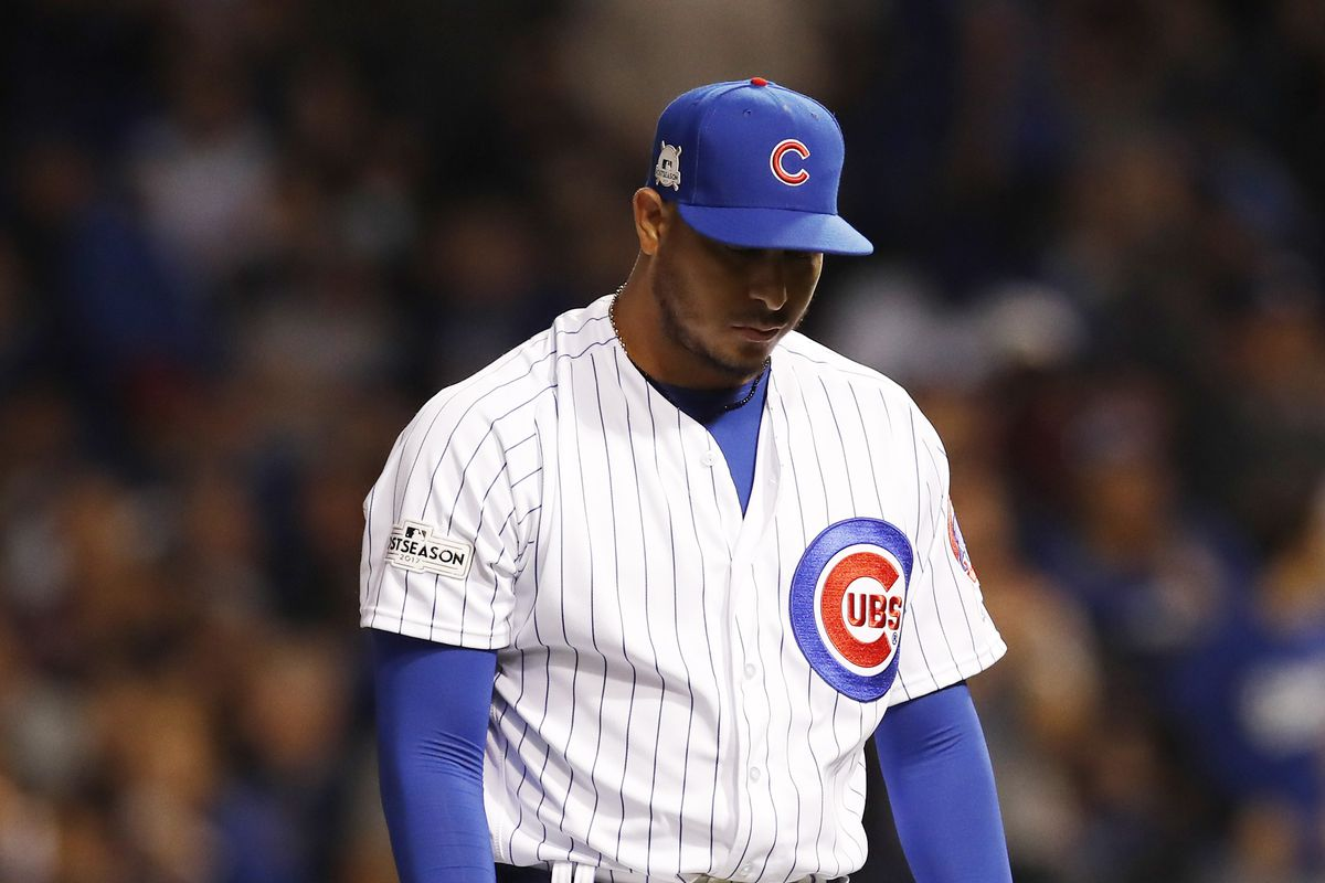 Oct 19, 2017; Chicago, IL, USA; Chicago Cubs relief pitcher Hector Rondon reacts after the third inning against the Los Angeles Dodgers in game five of the 2017 NLCS playoff baseball series at Wrigley Field. Mandatory Credit: Jim Young-USA TODAY Sports