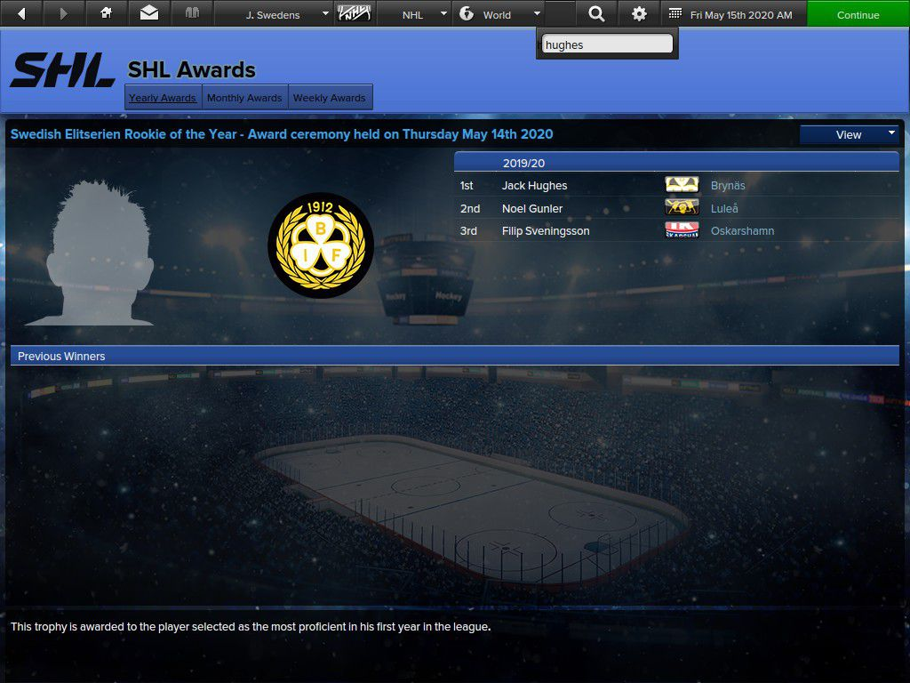 Hughes won another trophy, this time in the SHL.