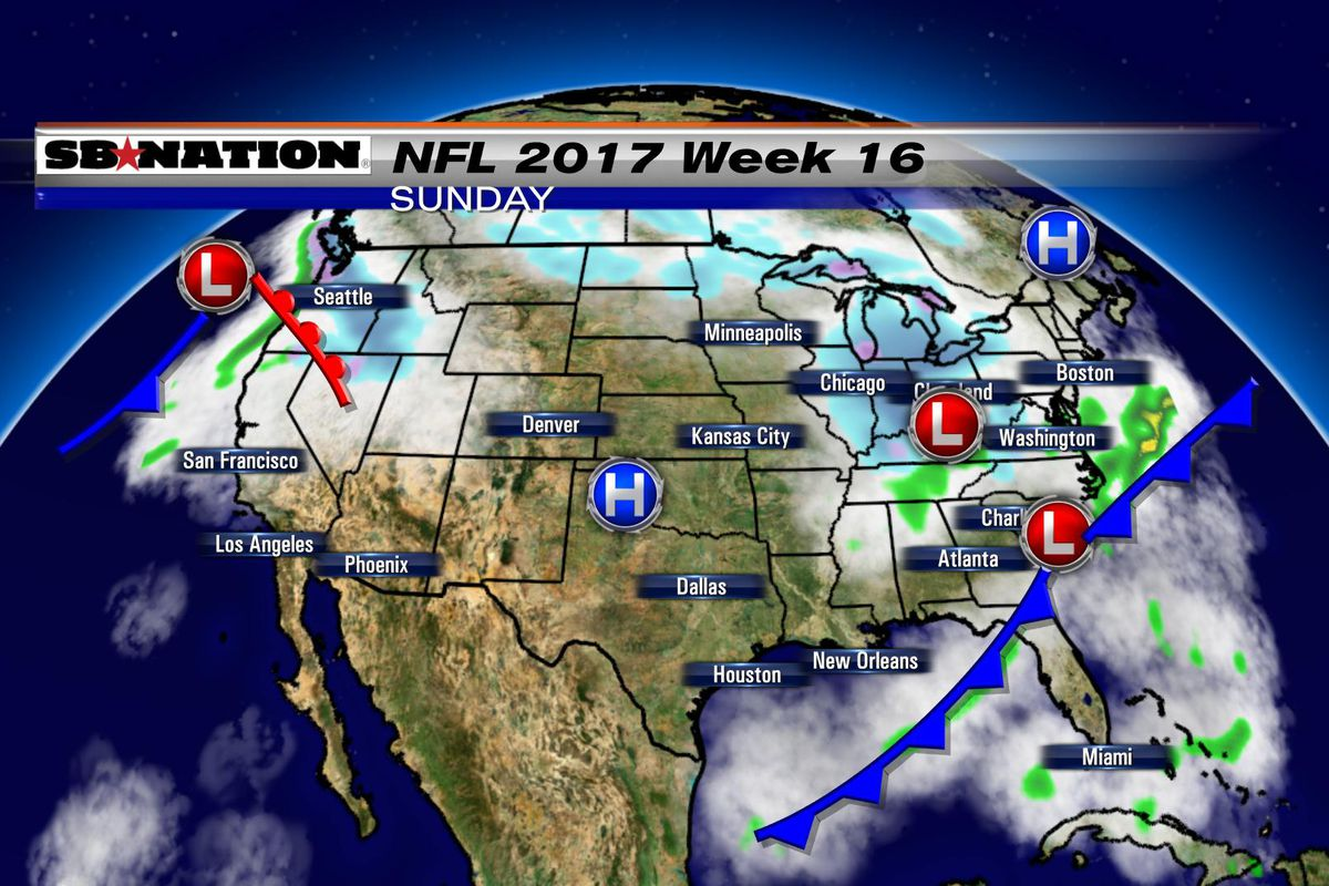 Today National Weather Map.Nfl Weather Forecast 2017 Week 16 Sbnation Com