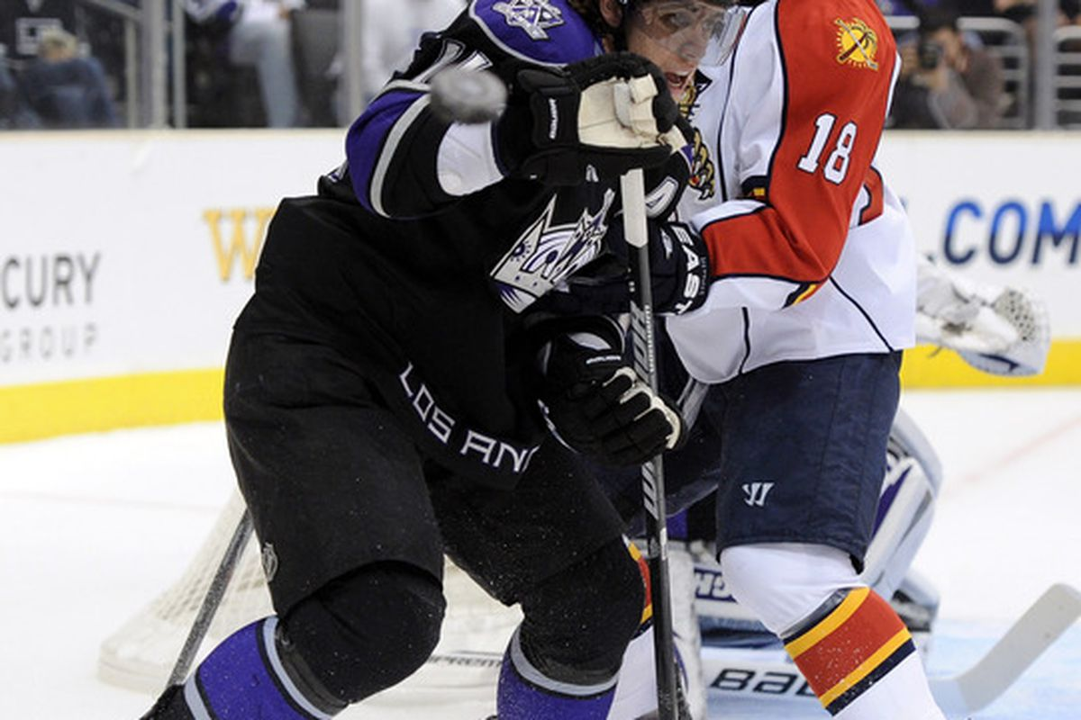 LOS ANGELES CA - DECEMBER 02:  Shawn Matthias #18 of the Florida Panthers and Anze Kopitar #11 of the Los Angeles Kings follow the puck during the first period on December 2 2010 in Los Angeles California.  (Photo by Harry How/Getty Images)