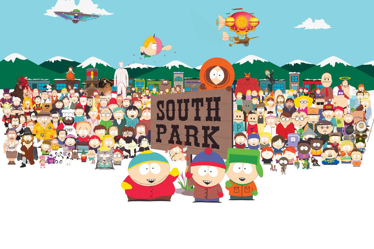 artwork featuring the cast of South Park