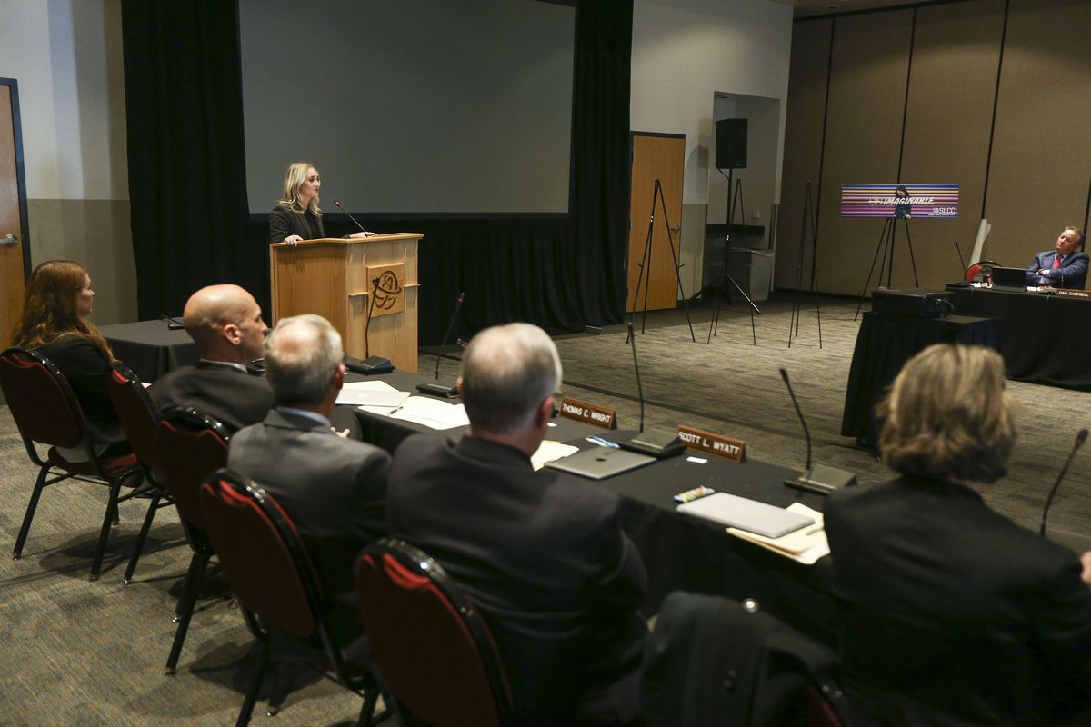 Student regent Jakell Larson speaks during the Utah State Board of Regents public hearing about tuition increases at Salt Lake Community College in Sandy on Thursday, March 28, 2019.