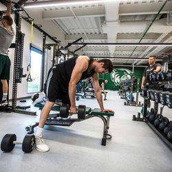 Players work out at the Utah Valley University Wolverines Nuvi Basketball Center on the UVU Campus.