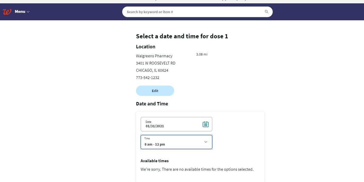 A screenshot of the Walgreens vaccination appointment site.