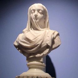 """A bust """"The Veiled Lady"""" sculpted in 1882 by Pietro Rossi is seen in the collection of the Gibbes Museum of Art at the museum in Charleston, S.C., on Wednesday, April 11, 2012. An image of the sculpture is one of more than 30,000 from art museums worldwide now available for viewing on the Internet through the Google Art Project. People can enter the Google Art Project site, see high resolution images and zoom in on details. It brings museum collections together in one place so art lovers don't have to go to various websites."""