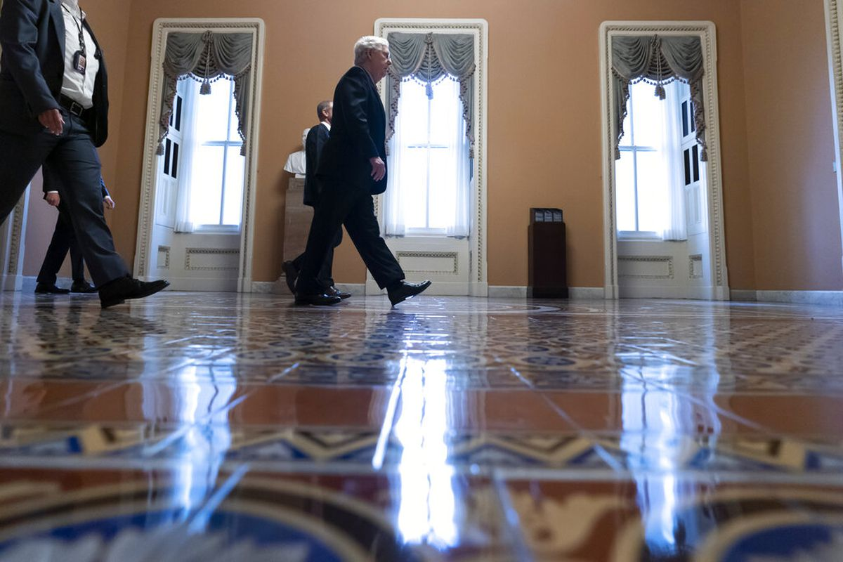 Senate Minority Leader Mitch McConnell of Kentucky at the Capitol in Washington.