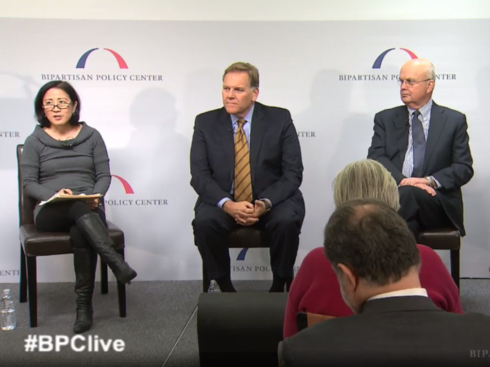 Washington Post reporter Ellen Nakashima interviews former Rep. Mike Rogers and retired Gen. Michael Hayden during a panel in Washington, D.C.