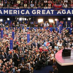 Donald Trump speaks during the final night of the National Republican Convention in Cleveland on Thursday, July 21, 2016.