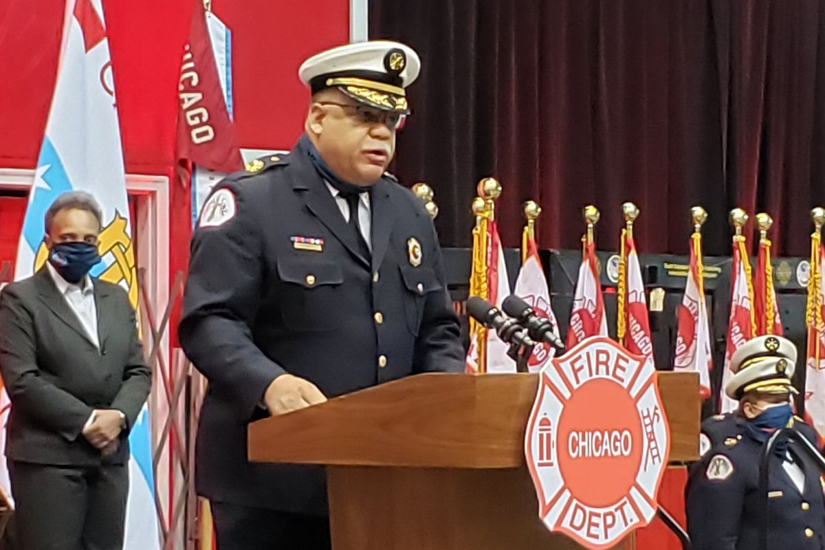 Chicago Fire Commissioner Richard C. Ford addresses academy graduates on Tuesday, Feb. 16, 2021. It was Ford's last graduation ceremony before he retires, as mandated, when he turns 63 in April.