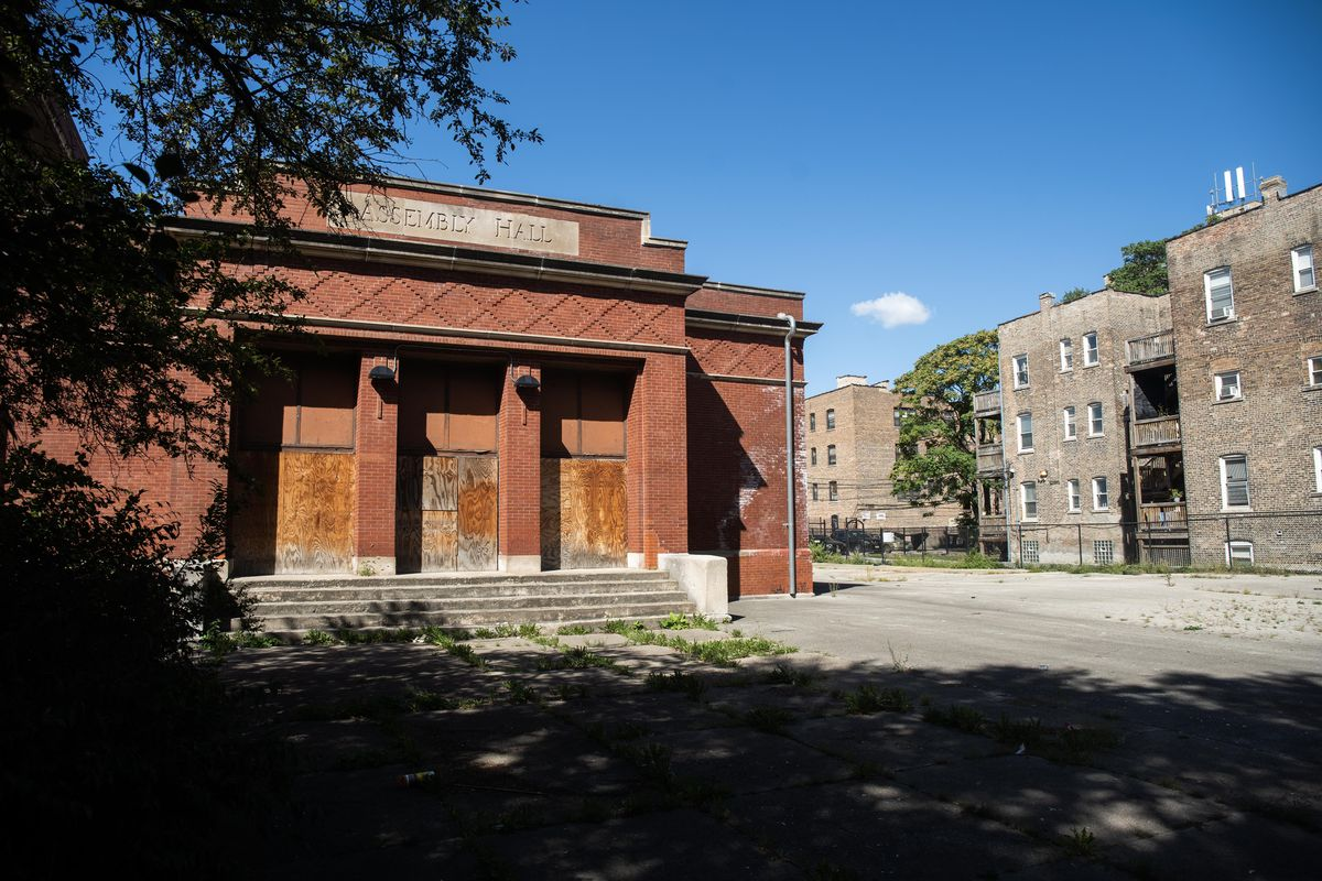 The assembly hall at the now-closed Robert Emmet Elementary School is at the north end of the school property, facing Pine Avenue.
