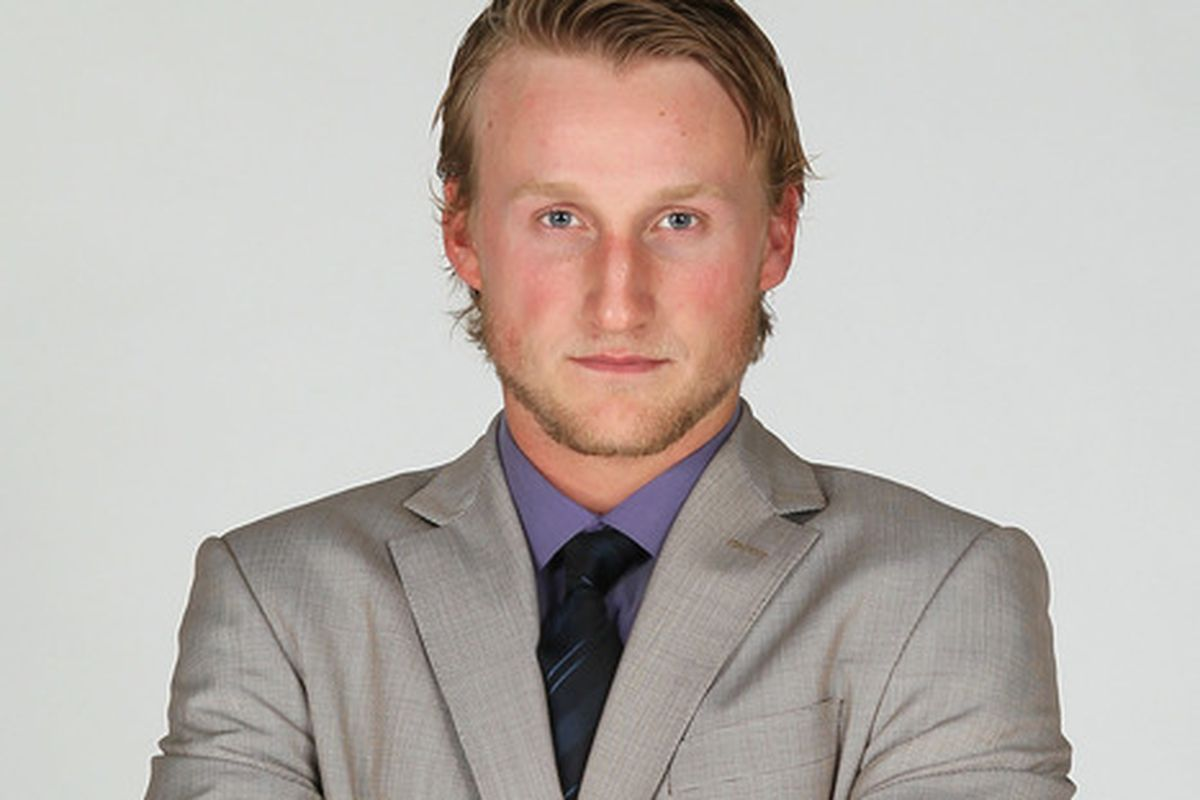 """Steven Stamkos faces the Flames, """"Hey, you lookin at me?"""""""