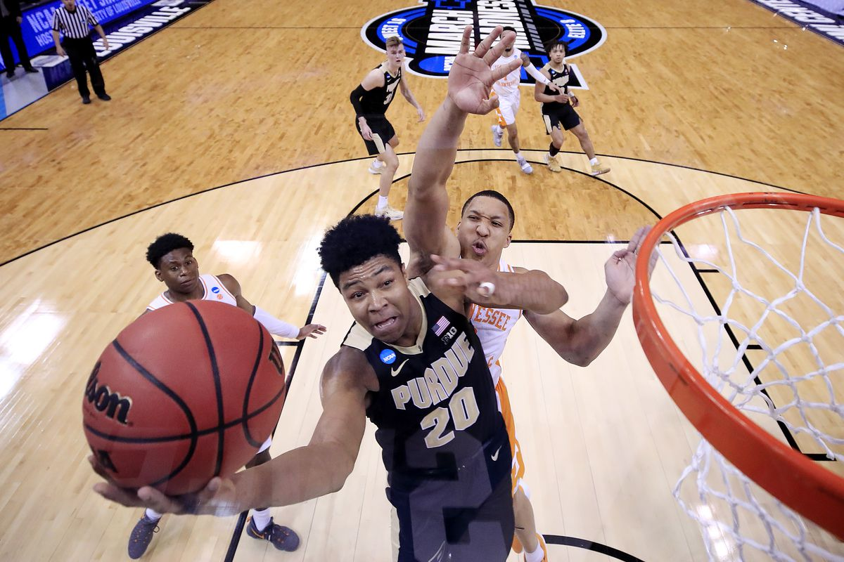 Nojel Eastern of the Purdue Boilermakers shoots over Grant Williams of the Tennessee Volunteers during the second half of the 2019 NCAA Men's Basketball Tournament South Regional at the KFC YUM! Center on March 28, 2019 in Louisville, Kentucky.