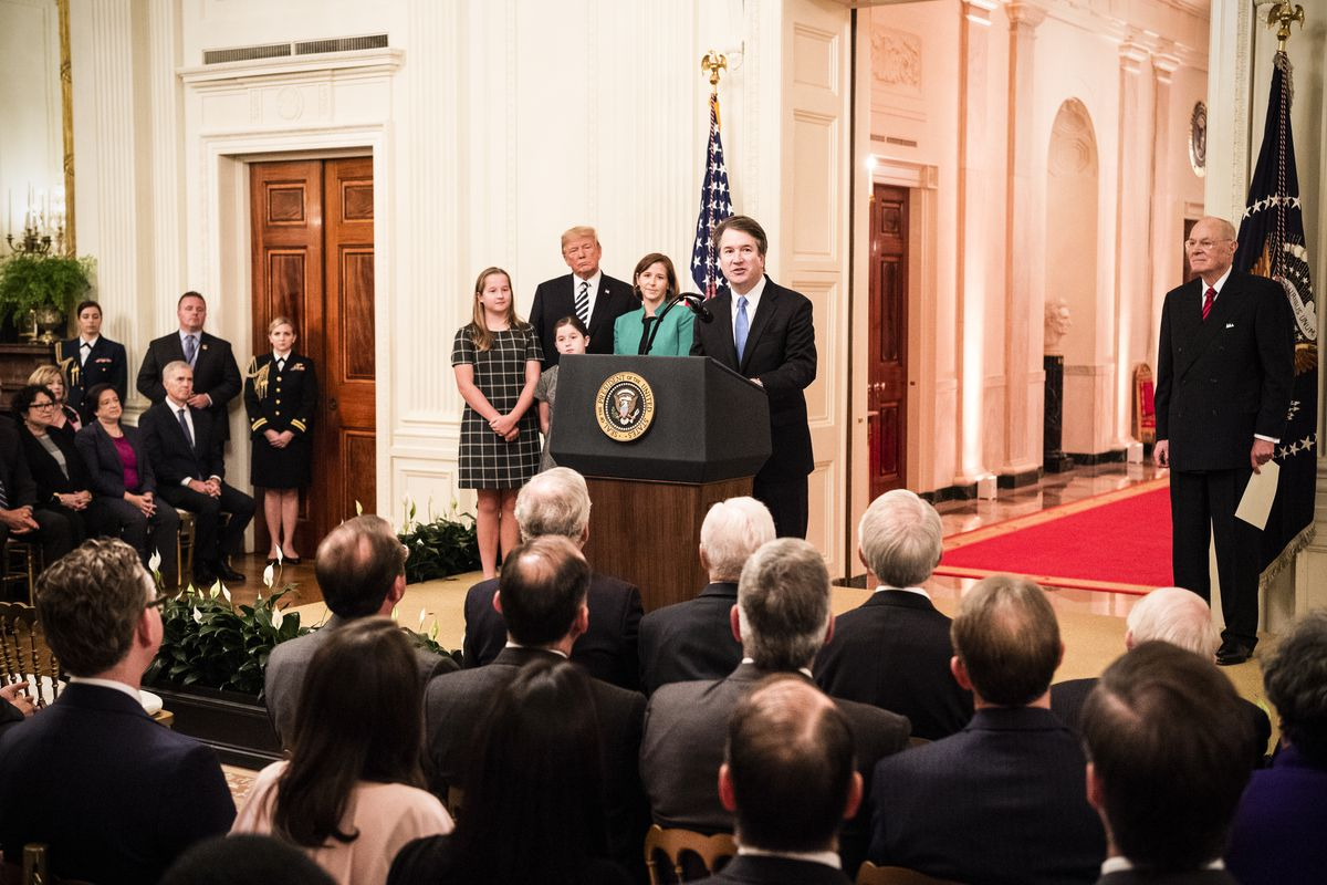Brett Kavanaugh speaking at his swearing in as a Supreme Court Justice on October 8, 2018.