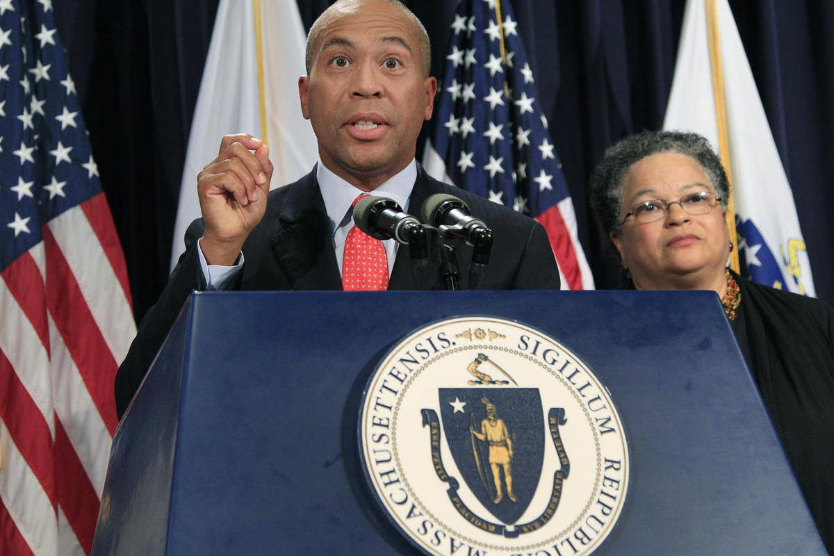 Massachusetts Gov. Deval Patrick, seen here in a file photo, told Democrats in an impassioned speech Tuesday that if they want to win elections, they need to grow a backbone and stand up for what they believe.