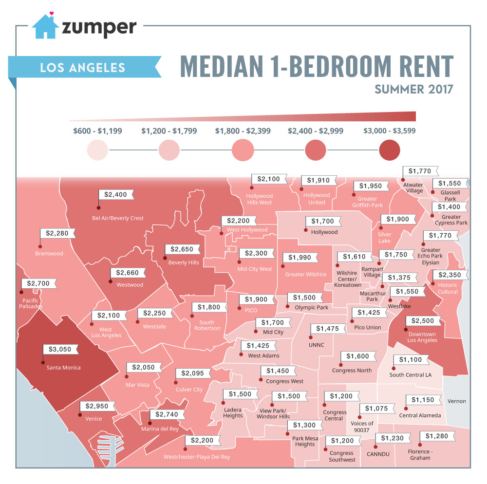 For Rent Map: LA Rental Map: Where Prices Are Highest And Lowest Around