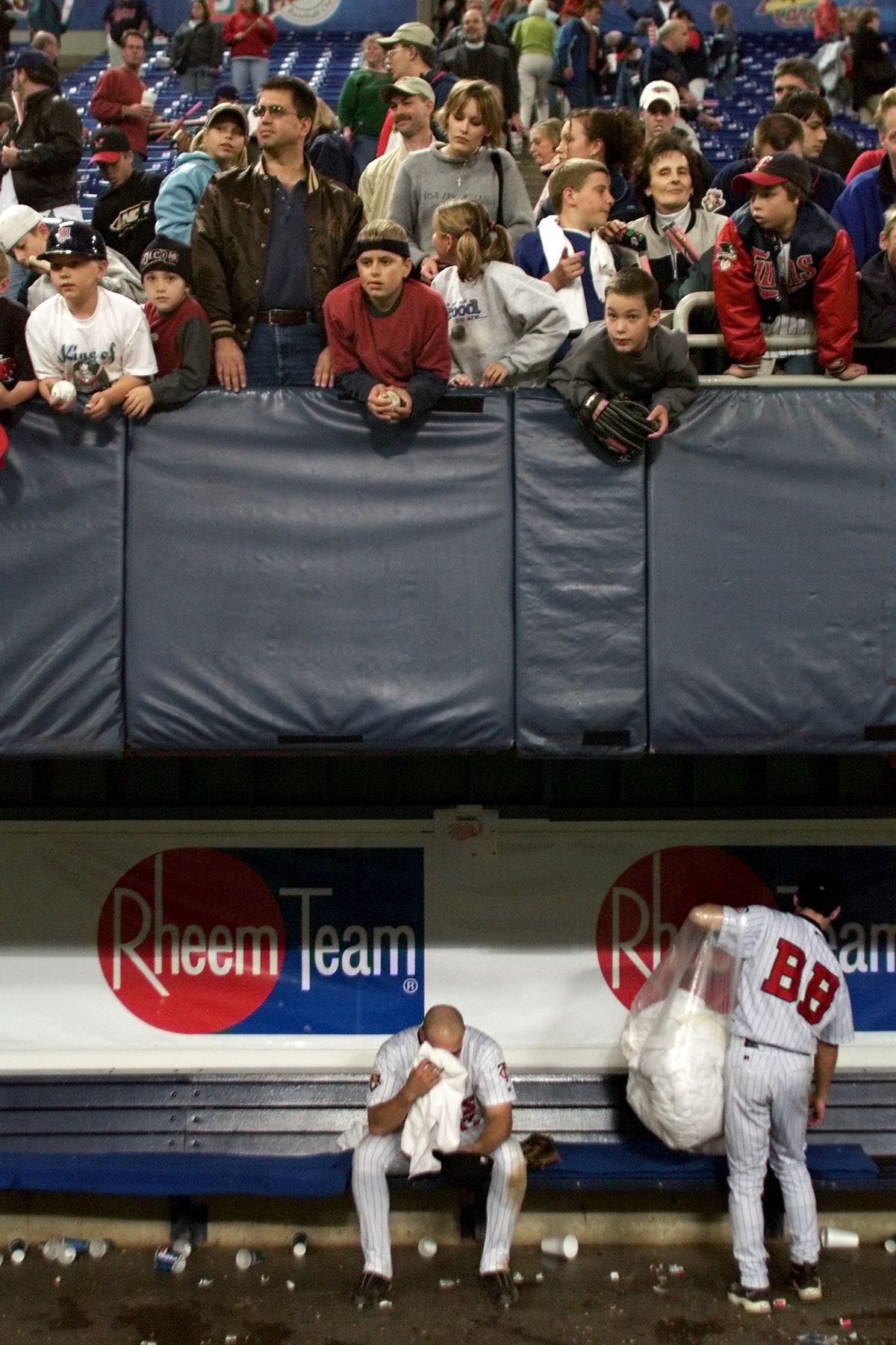 Twins player Dustan Mohr was reflective at the end of the game with the White Sox and also the close of the 2001 season. He sat in the Twins dugout long after his teammates had headed for the showers, sharing the space with a batboy busy doing his clean