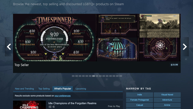 A selection of games tagged LGBTQ+ on Steam's storefront.
