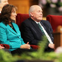 Elder Richard J. Maynes sits with his wife, Sister Nancy J Maynes, prior to the two of them speaking at the Worldwide Devotional for Young Adults from the Tabernacle on Temple Square in Salt Lake City Sunday, May 1, 2016.
