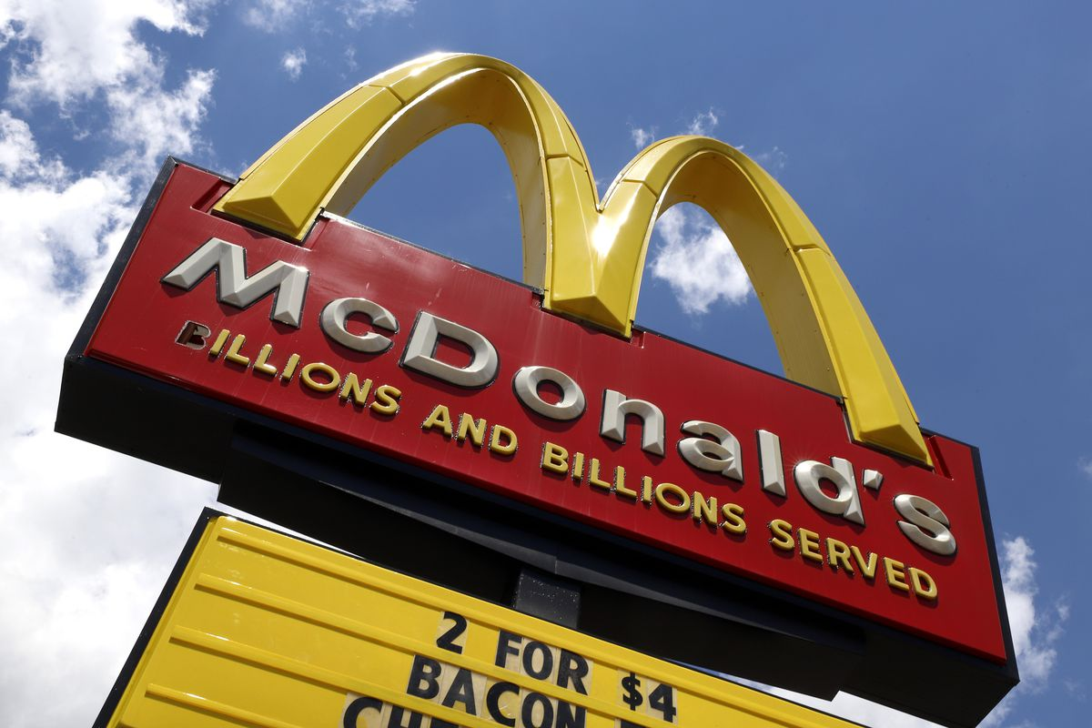 A sign is displayed outside a McDonald's restaurant in Pittsburgh.