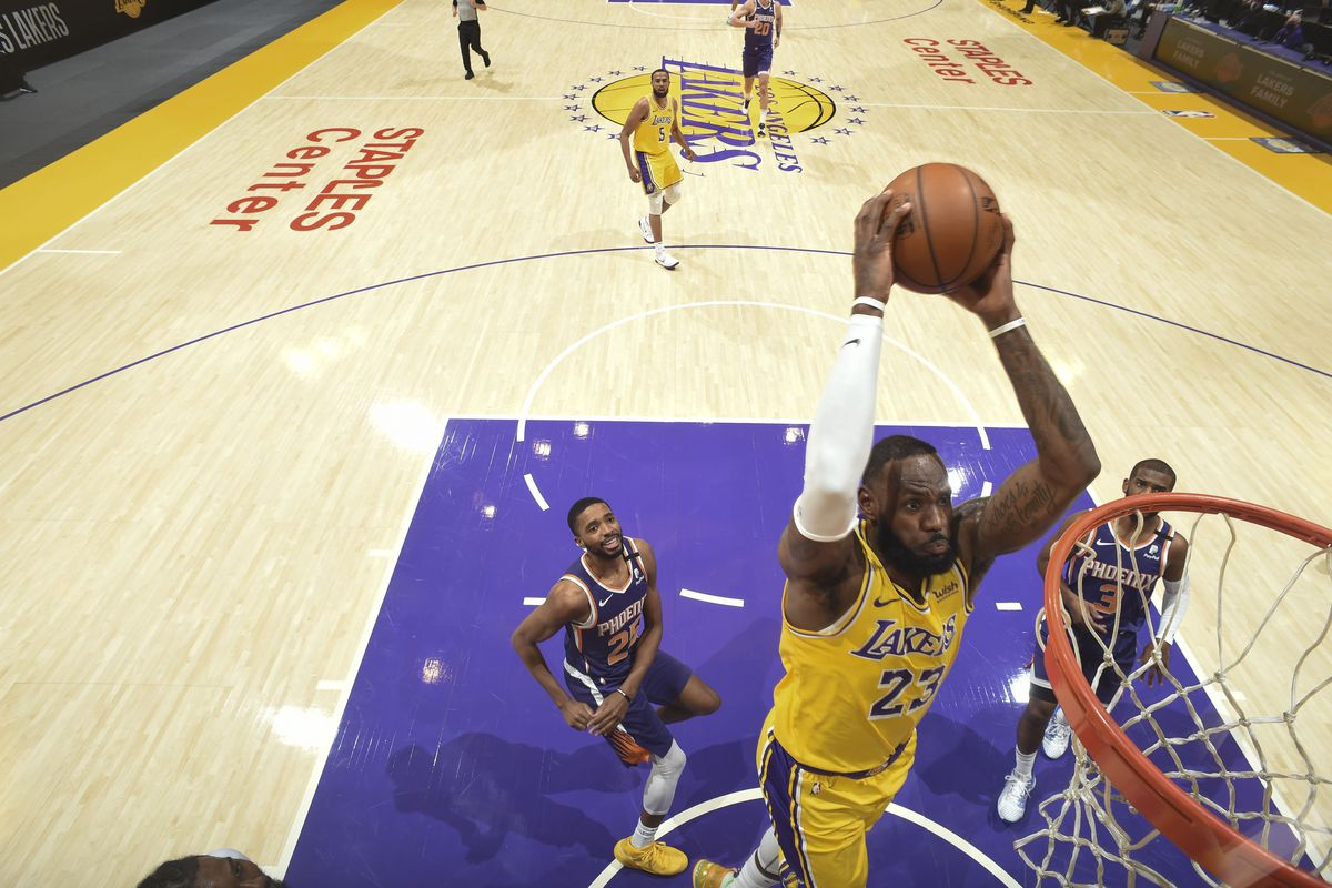 LeBron James #23 of the Los Angeles Lakers dunks the ball during the game against the Phoenix Suns on March 2, 2021 at STAPLES Center in Los Angeles, California.