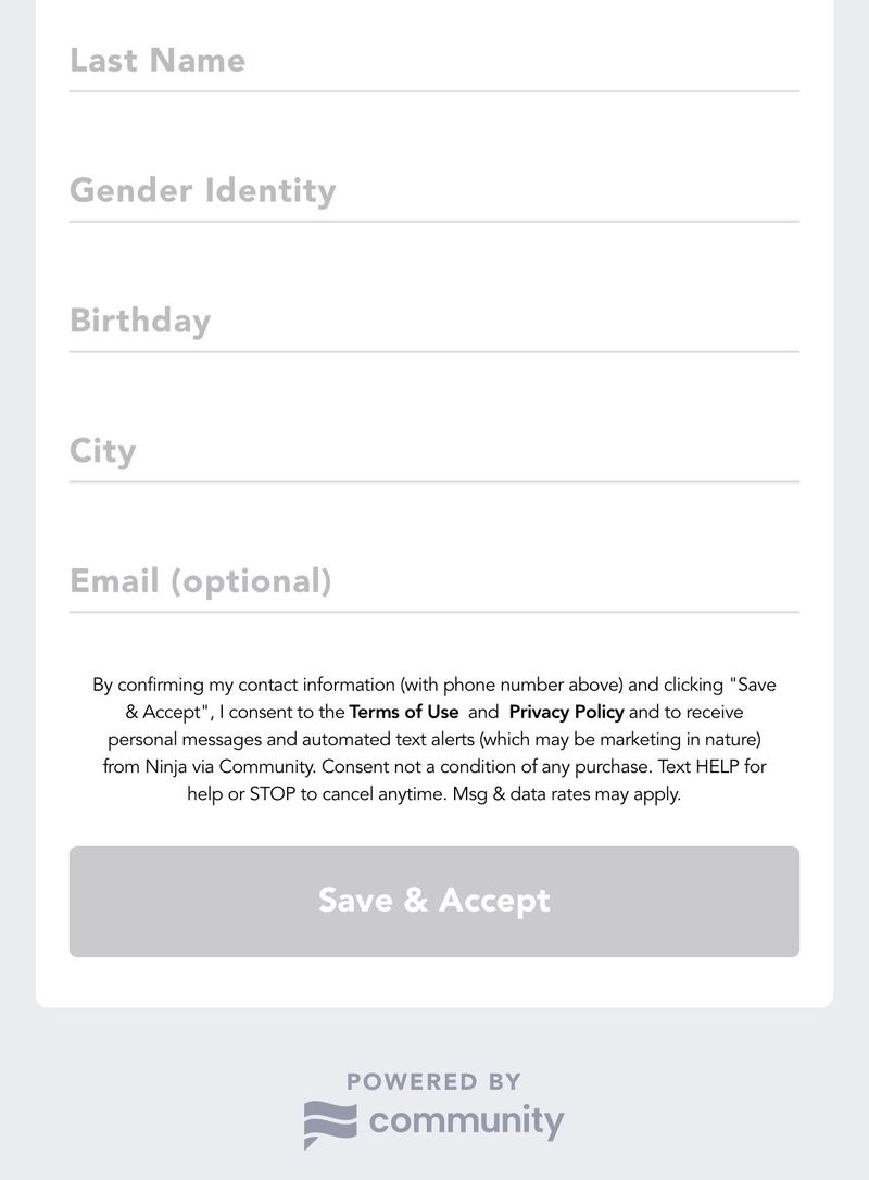 Image of Community's sign up page