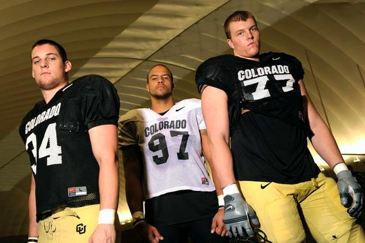 Buffaloes tight end Ryan Deehan, left, defensive tackle Taj Kaynor, center, and offensive tackle Bryce Givens have had strong performances in spring drills. (John Leyba, The Denver Post)