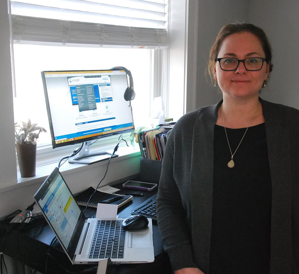 Kristin Bivens, an English instructor at Harold Washington College, at her home, where she is teaching remotely after a statewide order to close schools in March.