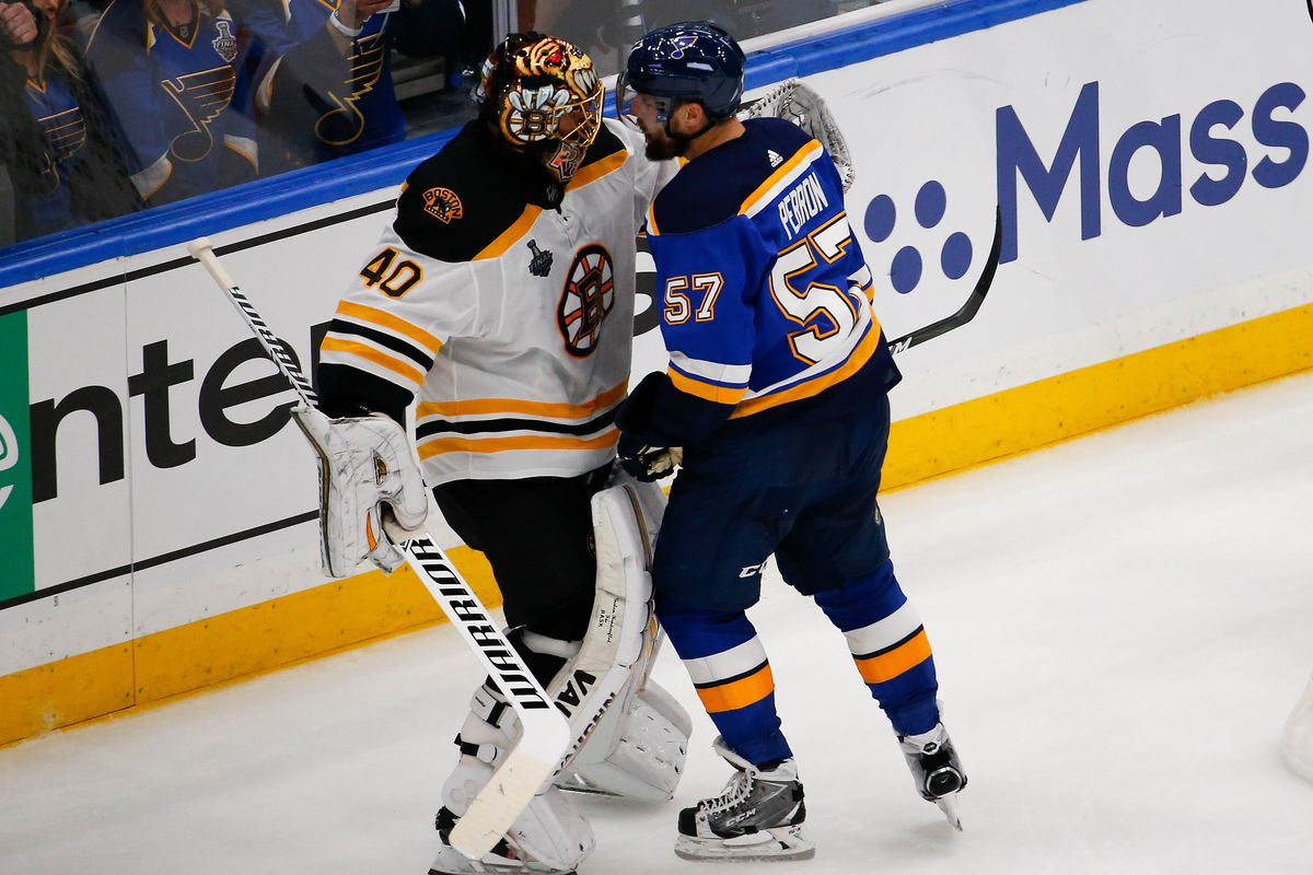 Jun 1, 2019; St. Louis, MO, USA; St. Louis Blues left wing David Perron talks with Boston Bruins goaltender Tuukka Rask after a whistle during the third period in game three of the 2019 Stanley Cup Final at Enterprise Center.