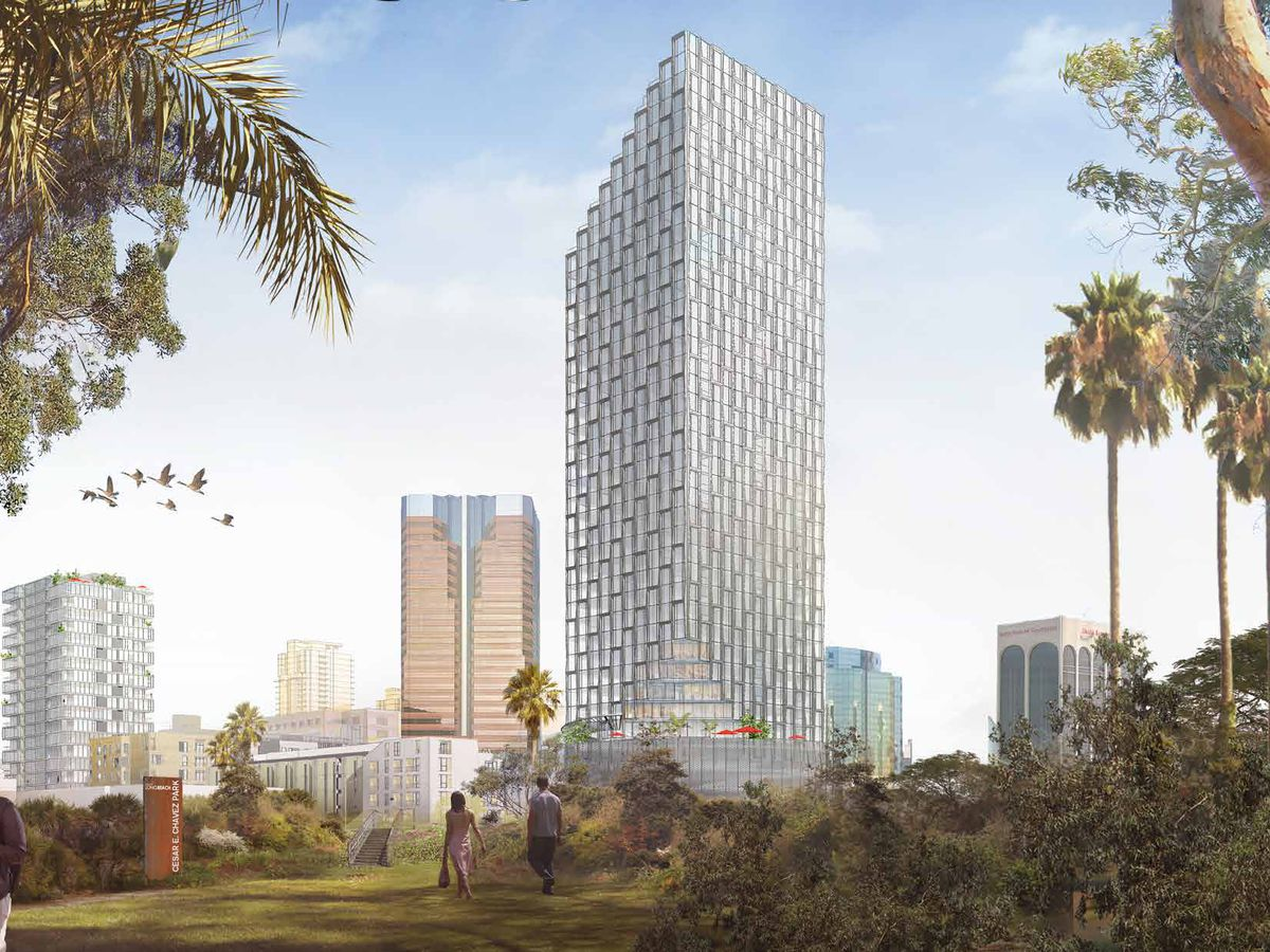 A rendering of the 40-story tower planned for a site near the World Trade Center in Long Beach.