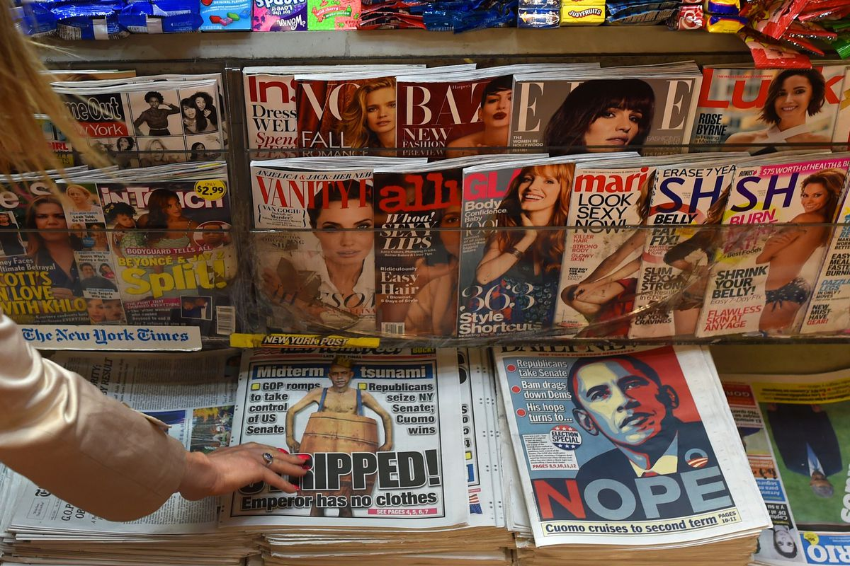 Newsstand of women's magazines
